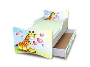 Dětská postel se zábranou a šuplík/y Žirafky