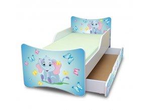 Dětská postel se zábranou a šuplík/y Sloník