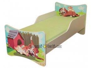 Dětská postel se zábranou Pejsek a kočička