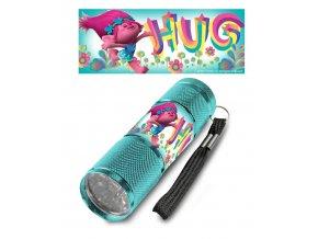 Dětská hliníková LED baterka Trollové HUG