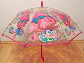 Vystřelovací průhledný deštník Trollové Poppy
