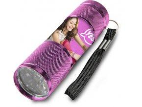 Dětská hliníková LED baterka Soy Luna růžová