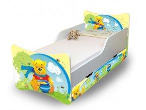 Dětská postel se zábranou a šuplík/y Medvídek Pú s medem