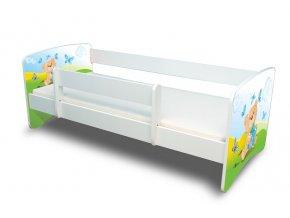 Dětská postel s bariérkou Filip - Medvídek s dárečkem modrý