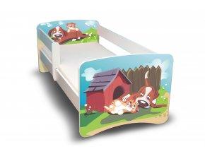 Dětská postel s bariérkou Filip - Pejsek a kočička