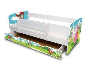 Dětská postel se zábranou a zásuvkou Princezna