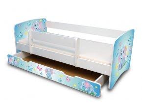 Dětská postel se zábranou a zásuvkou Sloník
