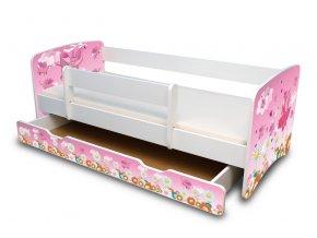 Dětská postel s bariérkou a šuplík/y Filip - Víla