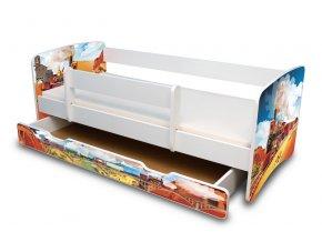 Dětská postel s bariérkou a šuplík/y Filip - Vlak