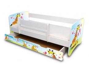 Dětská postel se zábranou a zásuvkou Žirafky