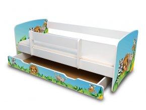 Dětská postel se zábranou a zásuvkou ZOO