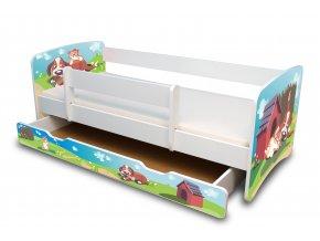 Dětská postel s bariérkou a šuplík/y Filip - Pejsek a kočička