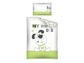 DETEXPOL Povlečení do postýlky My Little Dog zelené  Bavlna, 100/135, 40/60 cm