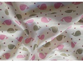 PREM Látková Bambusová tetra plena s potiskem Velryba růžová 60% Bavlna, 40% Bambus, 70/70 cm