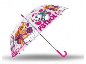EUROSWAN Vystřelovací průhledný deštník Paw Patrol Skye POE, průměr 85 cm
