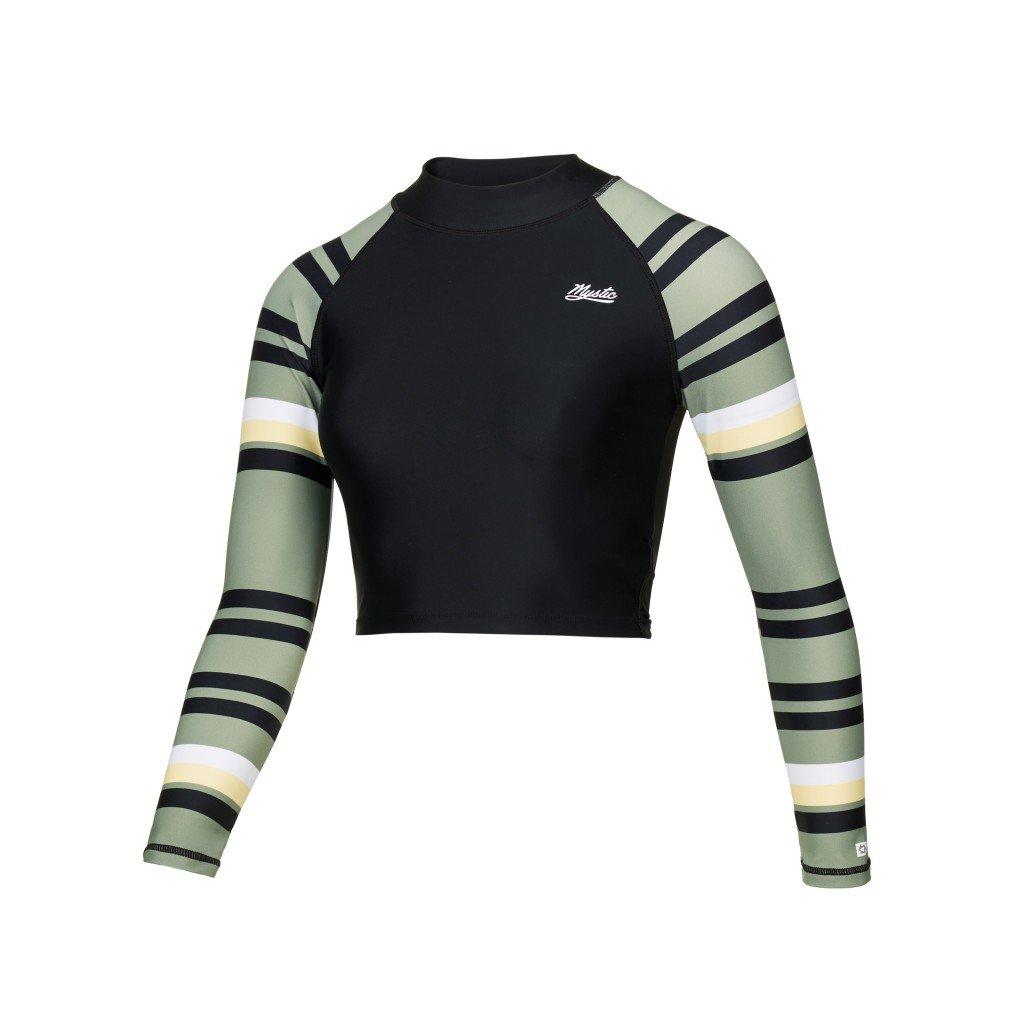 Lykra Jayde LS Crop Rash Vest, Olive Green
