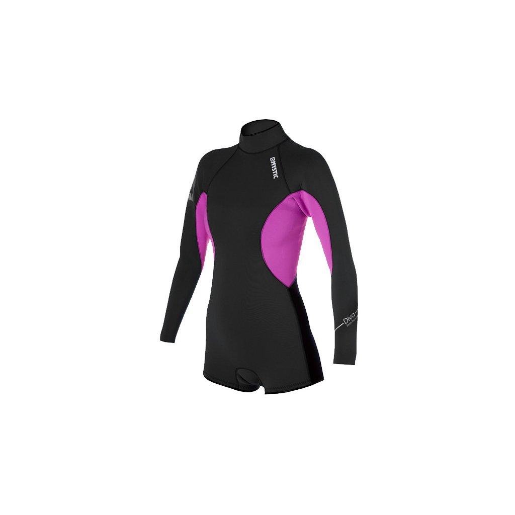 Neoprén Diva 3/2 Longarm Super Shorty Women, Black/Pink