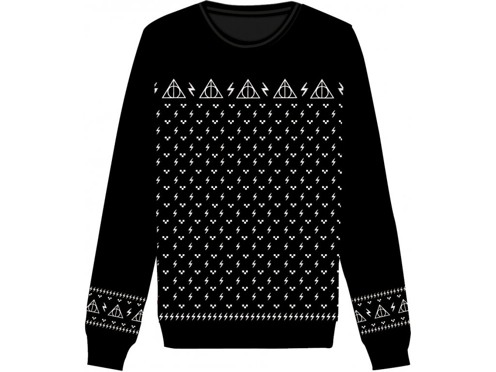 Harry Potter Christmas Knitted Sweater Deathly Hallows Size XL