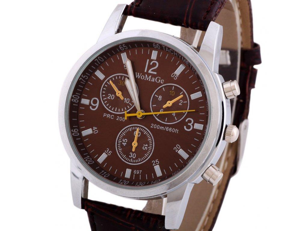 WomaGe pánske náramkové kožené hodinky hnedé 1bfd80f7980