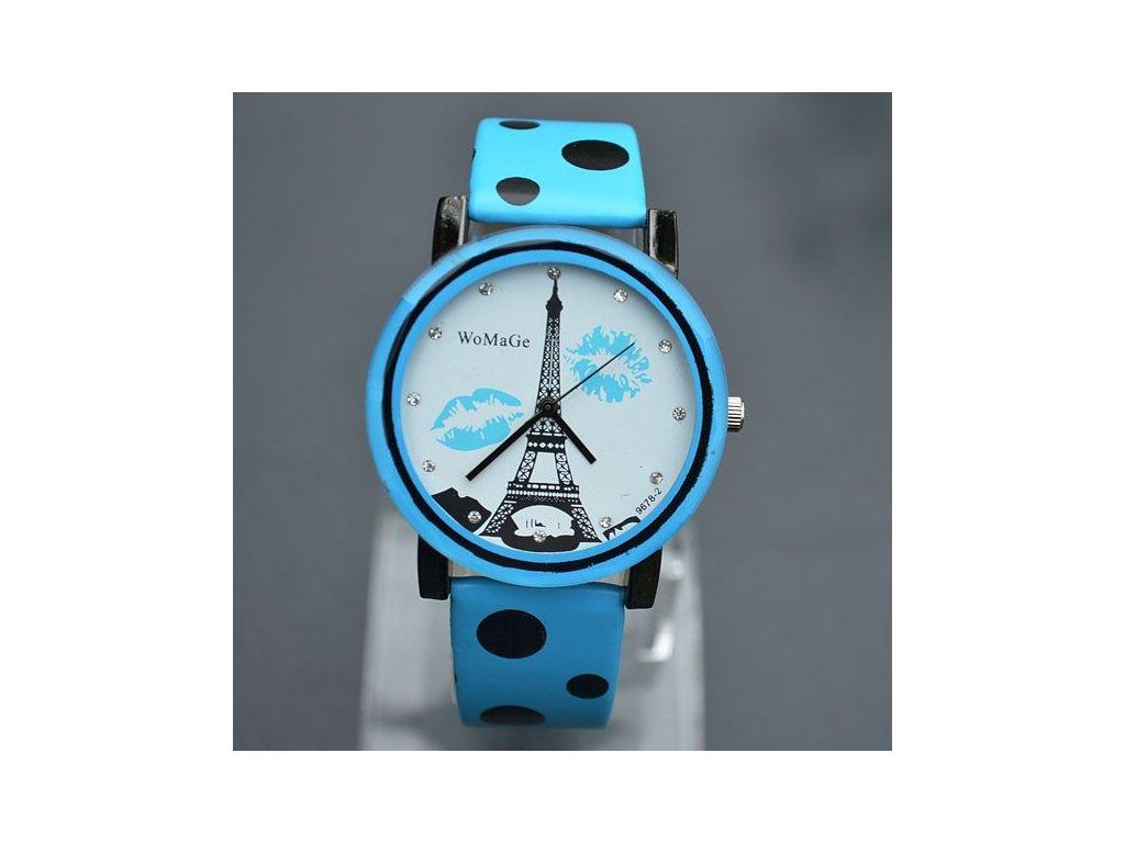 Dámske hodinky WoMaGe Eifelova veža modré cbe58f0dab8