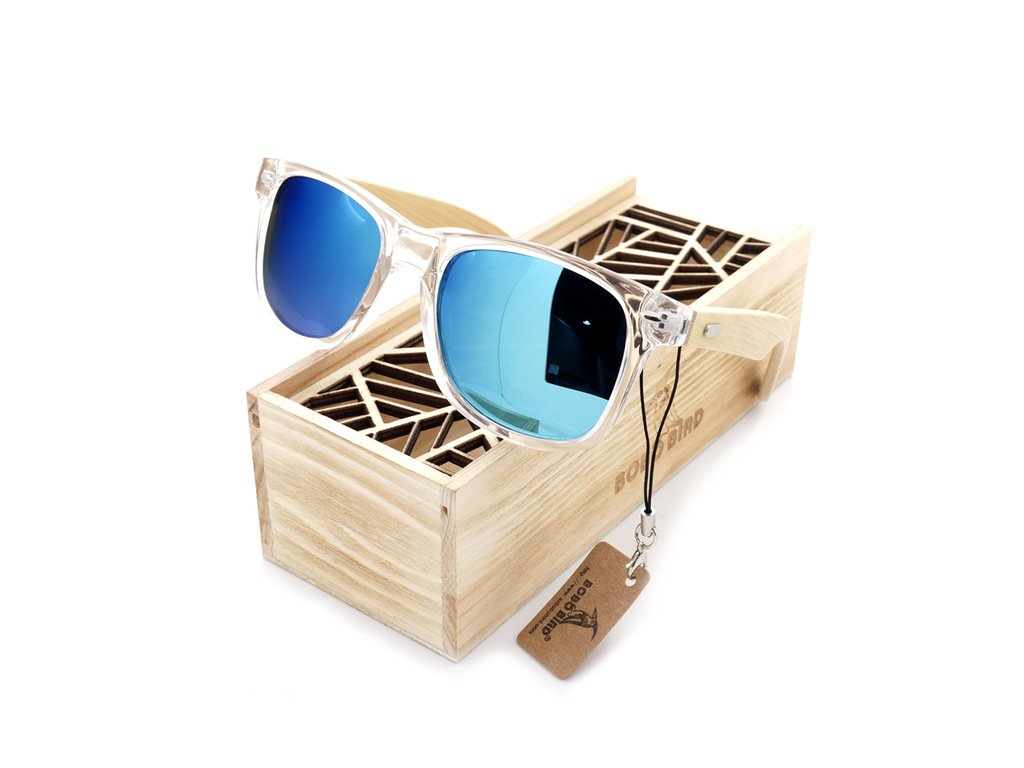 f8fdc5484 BOBO BIRD Clear Color Wood Bamboo Sunglasses Women s Bamboo Polarized  Sunglasses With UV 400 Protection