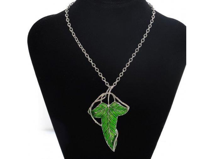 Pán Prsteňov - Lorienský Lístok náhrdelník zelený 2