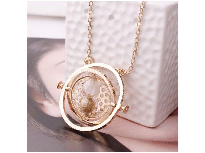 Harry Potter-časovrat kovový náhrdelník zlatý