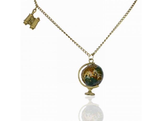 Glóbus s ďalekohľadom náhrdelník pozlátený