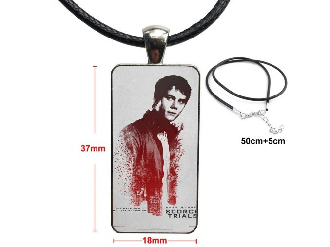 The Maze Runner Thomas Sangster Dylan Fashion Glass Cabochon Pendant Rectangle Necklace Choker Necklace Jewelry For