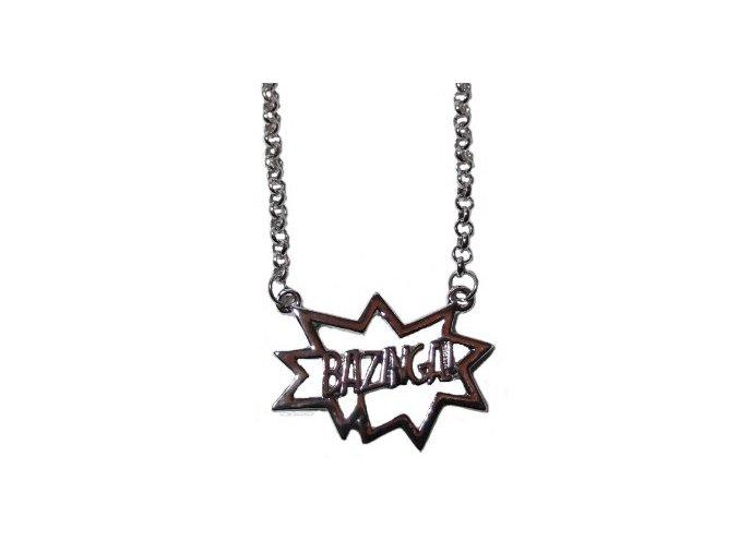 big bang theory bazinga silvertone 20 necklace 21669926