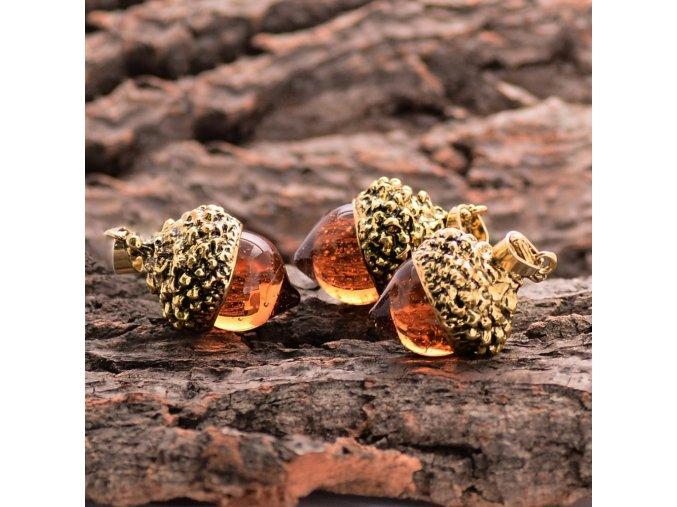 1piece Vintage Antique Bronze Silver Gold Plated Water Drop Suspension Glass Acorn Oak Pendant Necklace For