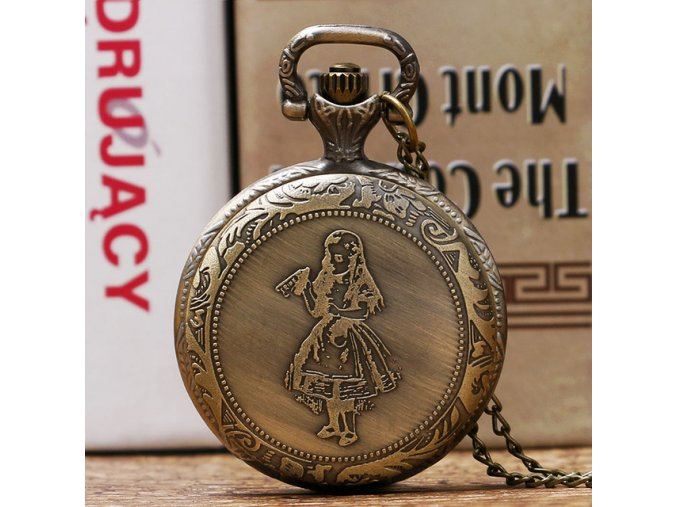 Vintage Bronze Pocket Watch Alice in Wonderland Little Girl Pattern Cute Women Gift With Chain Ladies.jpg 640x640