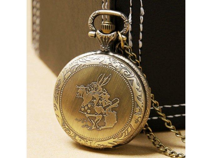 Cute Drink Me Tag Pocket Watch Fashion Necklace Rabbit Men Bronze Gift Alice in Wonderland Hot