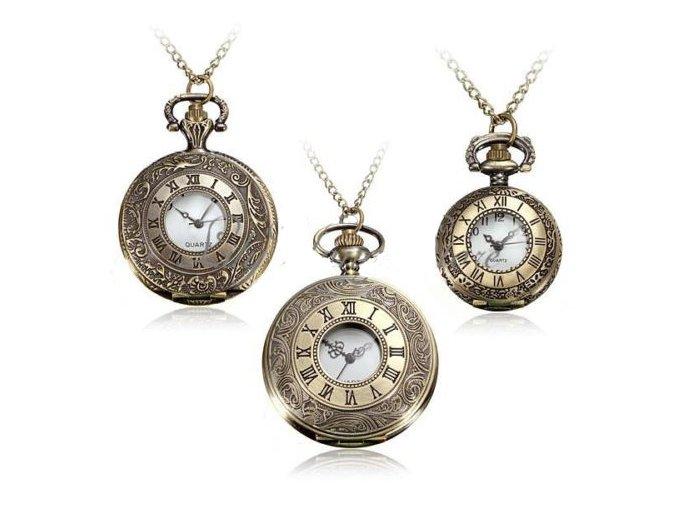 Vreckové hodinky bronzové veľké