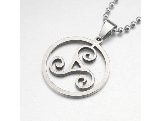 Silver Tone Stainless Steel Triskelion Triskele Round Pendant Necklace Free Chain 60CM Long