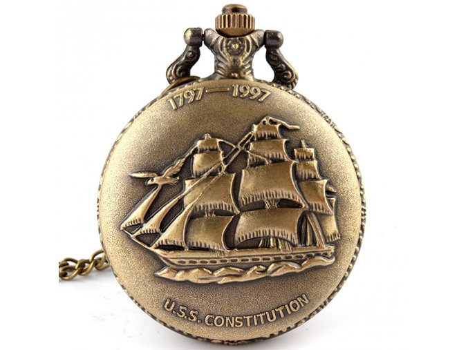 Hot Free shipping Antique Bronze font b Sailing b font Canvas Boat Ship Necklace Pocket Chain