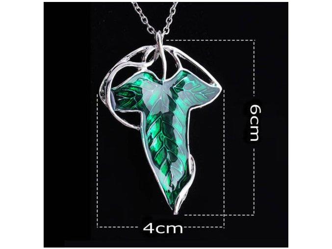 Pán Prsteňov - Lorienský Lístok náhrdelník zelený