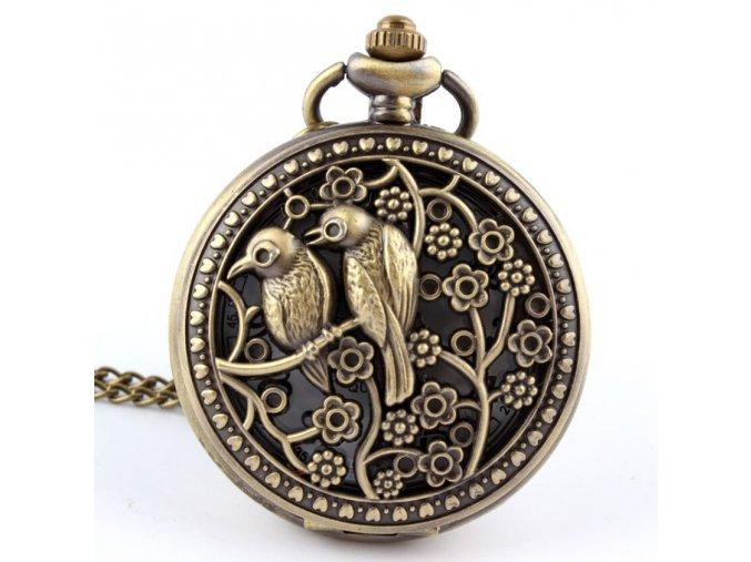 12pcs lot Vintage Bronze Floral Bird Necklace Engraved Quartz Pocket font b Watch b font Dia