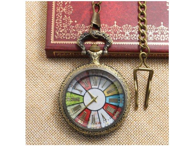 Vreckové hodinky s rímskym ciferníkom farebné