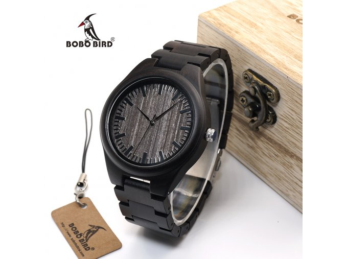 BOBO BIRD WO08 Brand Designer Wood font b Watch b font Ebony Wooden Quartz font b