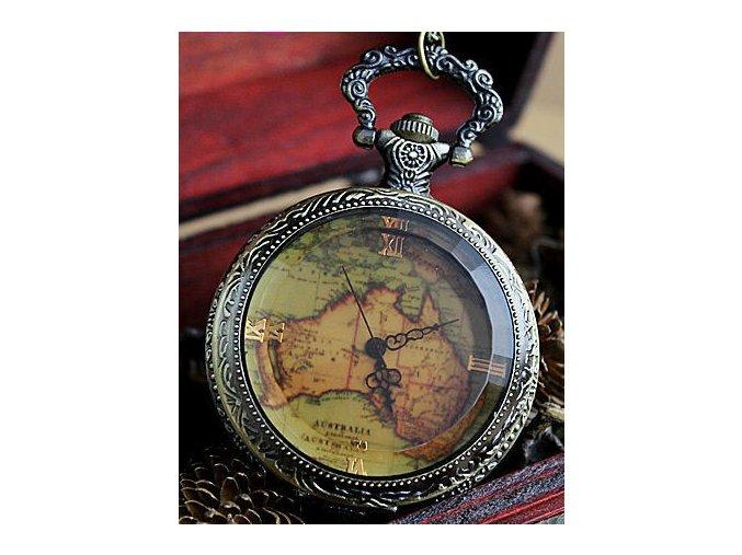 Vreckové hodinky retro mapa