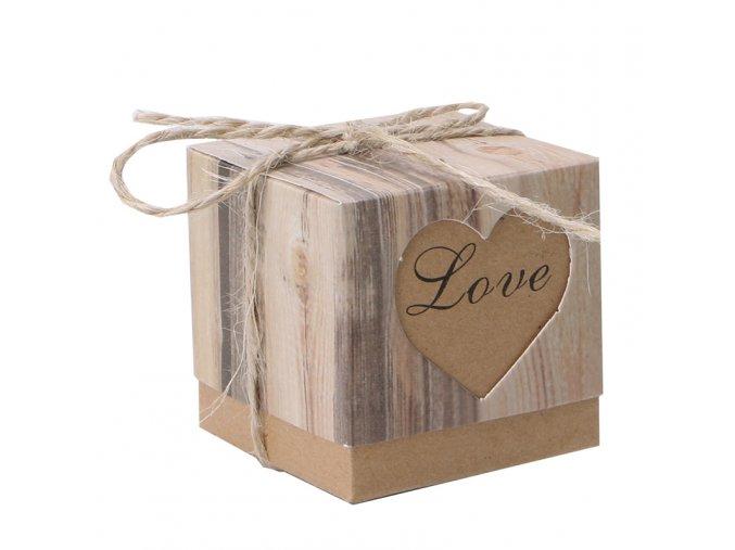 50pcs lot Romantic Heart Candy Box for font b Wedding b font Decoration Vintage Kraft font