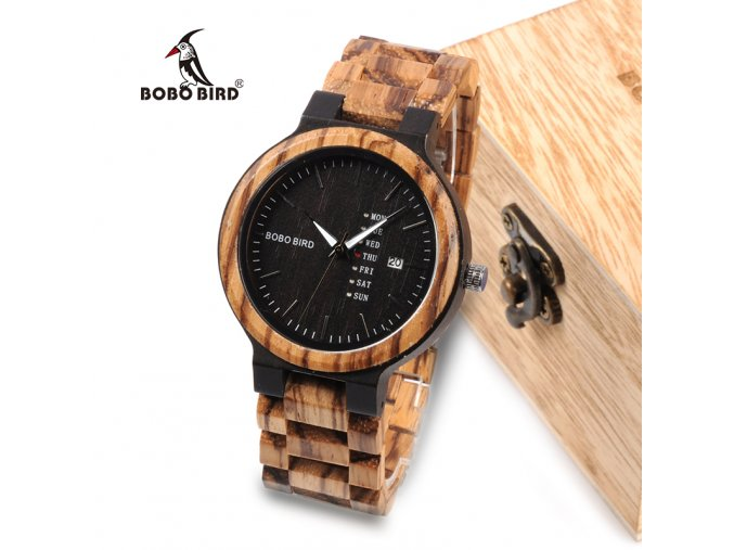 BOBO BIRD Newest Wood Watch for Men with Week Display Date Quartz Watches Two tone font