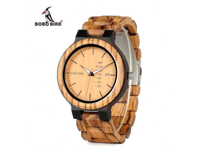 BOBO BIRD Newest Wood Watch for Men with Week Display Date Quartz Watches Two tone Wooden.jpg 640x640