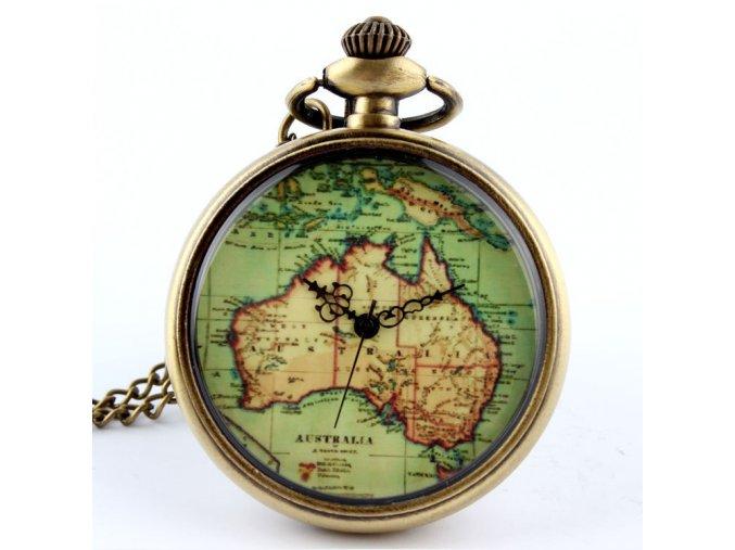 Vreckové retro hodinky s mapou Austrálie