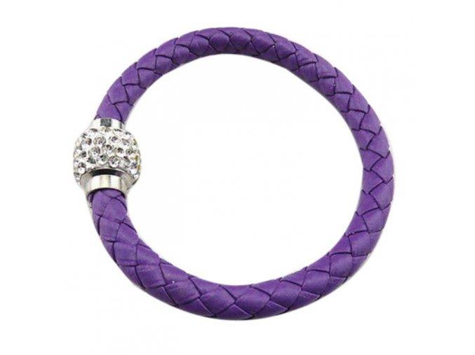 Magnetický kožený náramok fialový