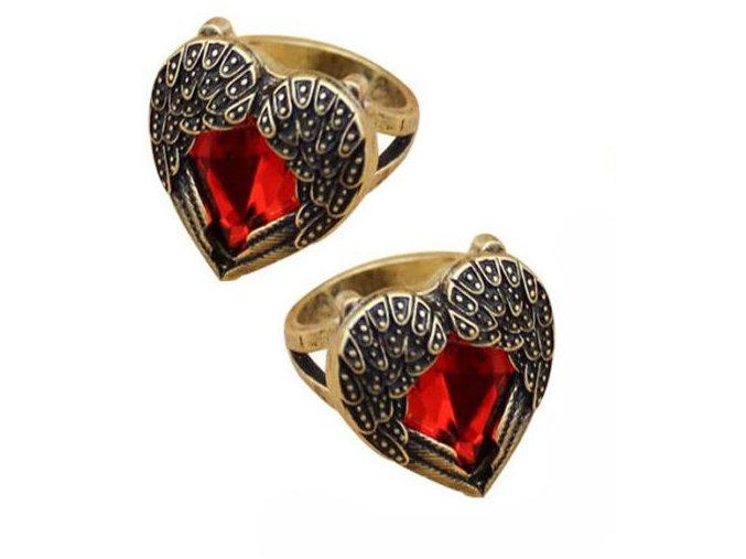 Prsteň-srdce červené