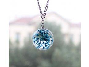 Náhrdelník kvet v skle modrý