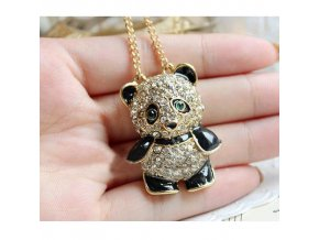 Panda náhrdelník s kamienkami