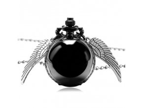 Fashion Woman Lady Black Ball Snitch Quidditch Wings Watches Antique Steampunk Pocket Watch P607 (1)